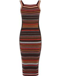 Texture Stripe Knit Dress - Red/multi