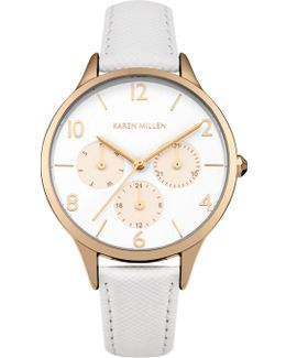 Multi-dial Leather Watch - White