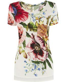 Stud-pocket Floral T-shirt - Multicolour