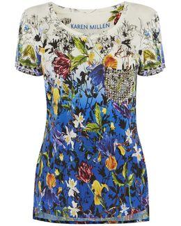 Stud-pocket Floral T-shirt - Blue/multi