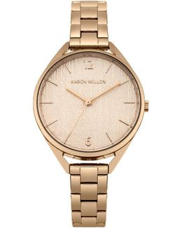 Textured Dial Bracelet Watch - Rose Gold Colour