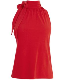 Halter Neck Bow Top - Red