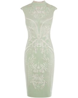 Embroidered Pencil Dress - Pale Green