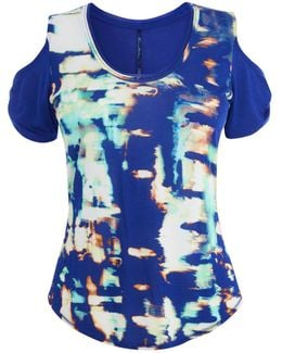 Printed Cut-out Shoulder Tee - Blue/multi