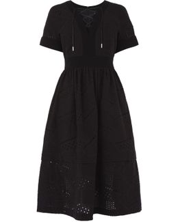 Black Lace A-line Dress - Black