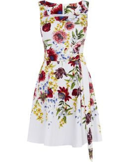 Floral A-line Dress - White/multi