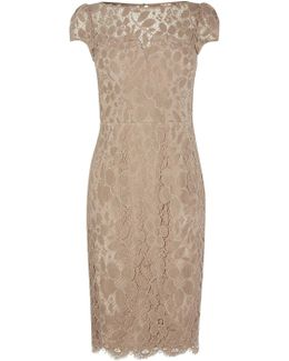 Short-sleeved Lace Dress - Neutral