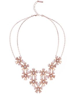 Geo Flower Necklace - Rose Gold Colour