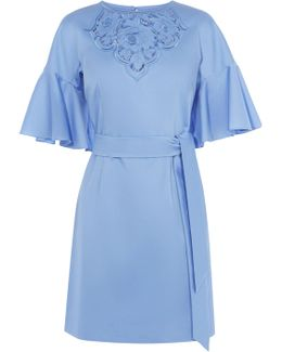 Embroidered Tie Waist Dress - Blue