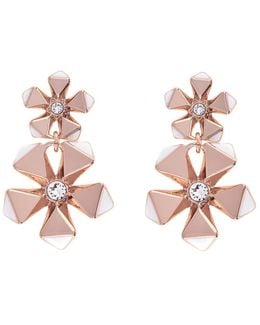 Geo Flower Drop Earring - Rose Gold Colour