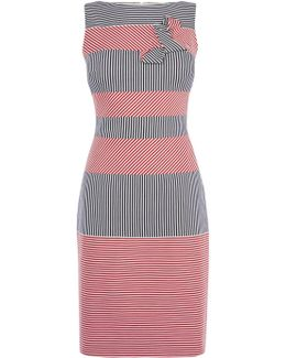 Red & Blue Stripe Pencil Dress - Multicolour