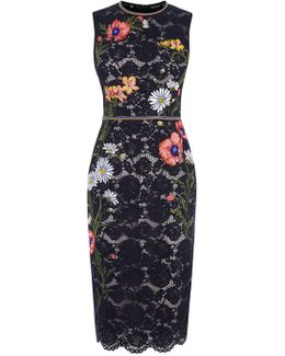 Lace Embroidered Pencil Dress - Black/multi