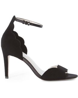 Suede Scalloped Sandals - Black