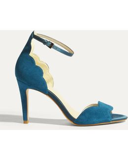 Suede Scalloped Sandals - Teal