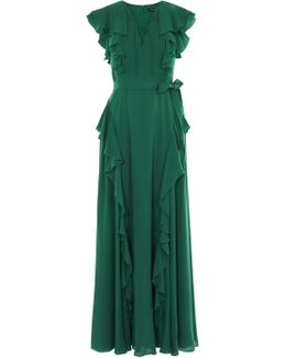 Ruffle And Lace-up Maxi Dress - Green