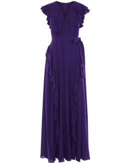Ruffle And Lace-up Maxi Dress - Purple