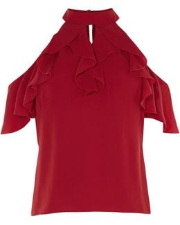 Ruffle Off-the-shoulder Top - Red