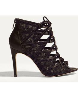 Lace Up Shoe Boot - Black