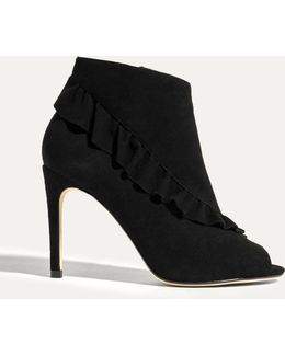 Suede Frill Shoe Boots - Black