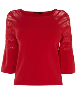 Fluted Sleeve Jumper - Red