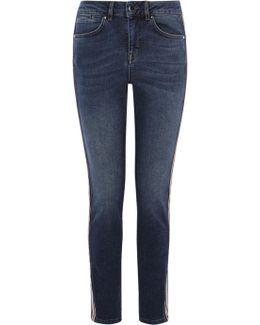 Blue Mid-rise Skinny Jeans - Denim