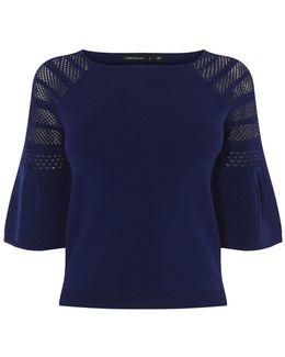 Bell Sleeve Knitted Jumper - Blue