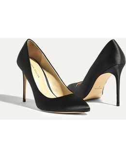 Satin Court Heels - Black