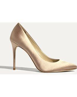 Satin Court Heels - Champagne
