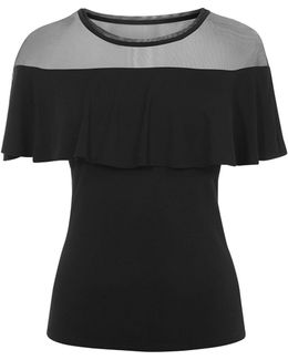 Mesh And Frill Top - Black