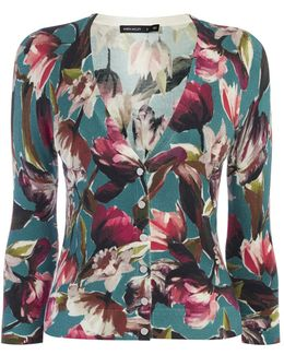 Floral Knitted Cardigan - Multicolour