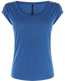 Chain Shoulder T-shirt - Blue