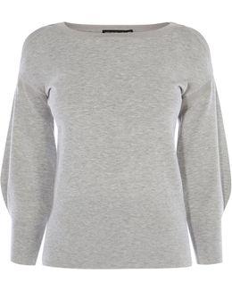 Volume-sleeve Knit Jumper - Grey