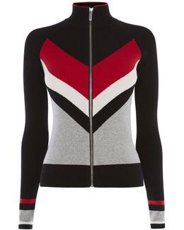 Colour-block Zip Cardigan - Grey/multi