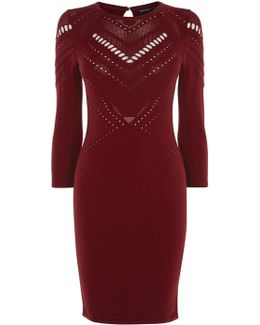 Open-knit Dress - Red