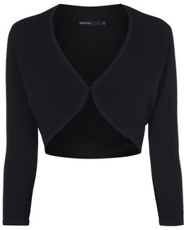 Cropped Knitted Cardigan - Black