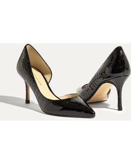 Leather Croc Kitten Heels - Black