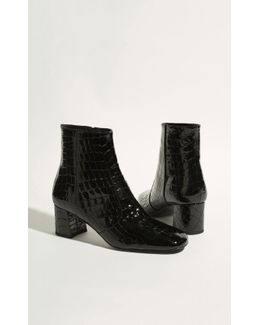 Leather Crocodile Ankle Boots - Black