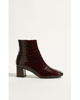 Leather Crocodile Ankle Boots - Dark Red