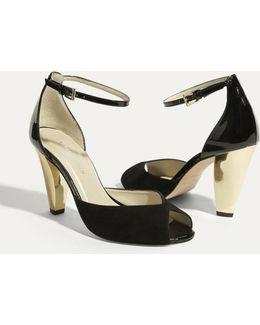 Patent & Suede Peep Sandal - Black