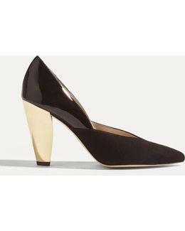 Patent & Suede Court Heel - Black