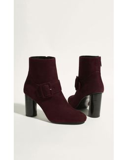 Suede Buckle Ankle Boot - Aubergine