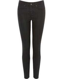 Mid-rise Coated Skinny Jeans - Black
