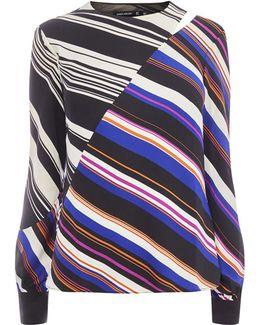 Striped Cold-shoulder Top - Multicolour