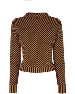 Contrast Knitted Jumper - Orange/multi