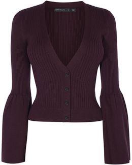 V-neck Knitted Cardigan - Aubergine