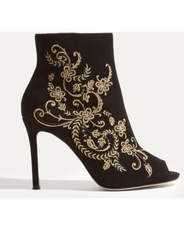 Gold Embroidered Shoe Boots - Black