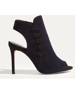 Button Heel Shoe Boots - Navy