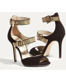 Gold Buckle Suede Sandal - Black