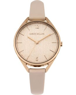 Textured Dial Strap Watch - Nude