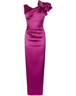 Satin One-shoulder Maxi Dress - Magenta